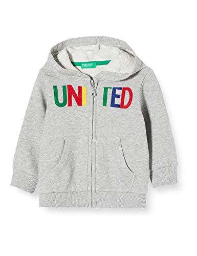 United Colors of Benetton Felpa Zip Chaqueta Punto, Gris (Grigio 501), 80/86 (Talla del Fabricante: 1Y) para Bebés