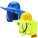 2 Protecciones de Cuello de Sol para Casco de Seguridad con 2 Bragas de Cuello Bandana de Cara Visera Solar para Casco de Ala Completa y Protector Parasol con Alta Visibilidad, Sin Casco