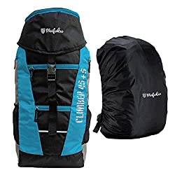 MUFUBU 50 Ltrs Men & Women Rucksack (Black & Blue),Mufubu