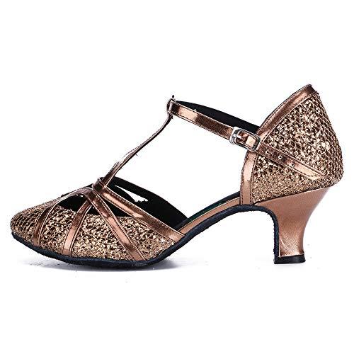 DKZSYIM Women's Bronze Fashion Ballroom Party Glitter Latin Dance Shoes Model 511-5,9.5 B(M) US
