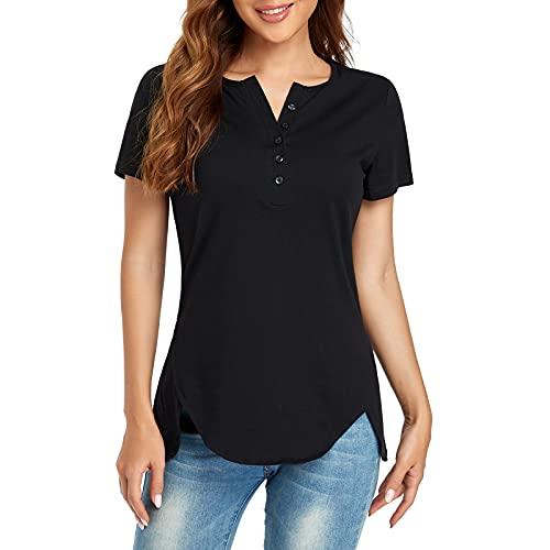 Ulknyss Larga/Corta Casual Basic tee Shirt Tops para Mujer Camiseta Mujer Algodón Elegantes Blusa con Botones Camisa Túnica de Manga UI506(Corto Negro,L)