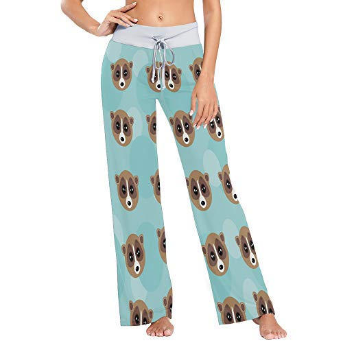 Womens Pajama Lounge Pants Animal Lemur Face Fun Fashion Wide Leg Casual Palazzo Pj Sleep Pants Laides