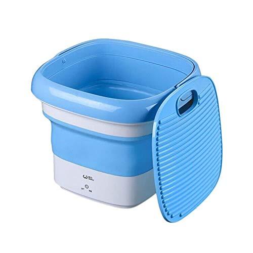 Mini Waschmaschinen mit Blaulicht-Sterilisations, Reisewaschmaschine, Camping Mobile Waschmaschine, Eimer Turbo Waschmaschine Klein mit Faltbarer USB (Blau)
