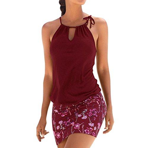 Logobeing Ropa de Mujer Vestidos Falda Chaleco Vestido Mini Playa Sin Mangas con Estampado Retro Camisetas Verano (Rojo, M)