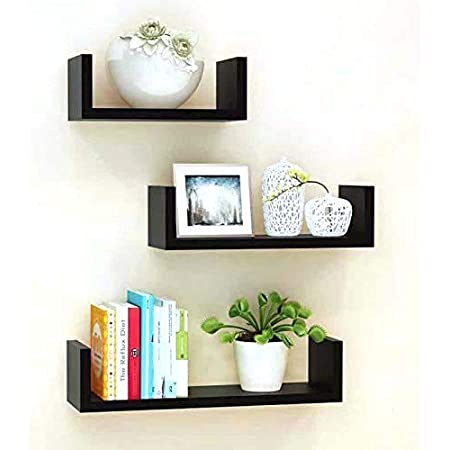 Unique Wooden Handicrafts Wooden Wall Rack Shelves Set of 3 Shelves Extra Large (5.5 x 16 x 4, 4.5 x 12 x 4, 4 x 8 x 4 inches) Home Decoration Wall Decor