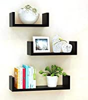 Unique Wooden Handicrafts Wooden Wall Rack Shelves Set of 3 Shelves Extra Large (5.5 x 16 x 4, 4.5 x 12 x 4, 4 x 8 x 4...