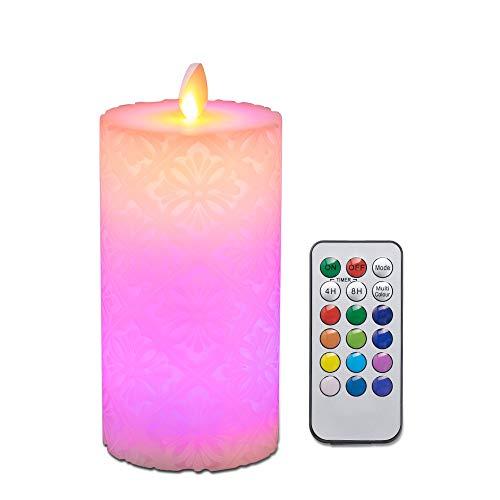 Vela sin llama, Vela de batería de cera real con control remoto, Temporizador 4H 8H, Parpadeo, Modo de cambio de 12 colores, D: 8cm, H: 16cm