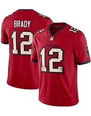 WFGY Camiseta NFL Pirates 12# Brady Buccaneers para Hombre, Versión Bordada 100% Poliéster Transpirable Y Que Absorbe El Sudor, Honor hasta El Final