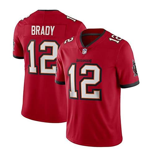 WFGY Camiseta NFL Pirates 12# Brady Buccaneers para Hombre, Versión Bordada 100% Poliéster Transpirable Y Que Absorbe El Sudor, Honor hasta El Final,Rojo,L