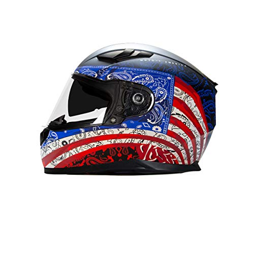 Voss 988 Moto-1 Full Face Helmet America Graphic. Retractable Internal Eyeshade Quick Release DOT/ECE - Small - Flat Red/White/Blue