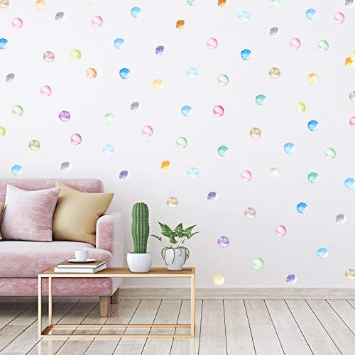 240 Pieces 2 Inch Multi-Color Dots Wall Stickers Vinyl Polka Dots Decals Circle Wall Stickers for Kids Boys Girls Bedroom Living Room Wall Decor (20 Water Colors)