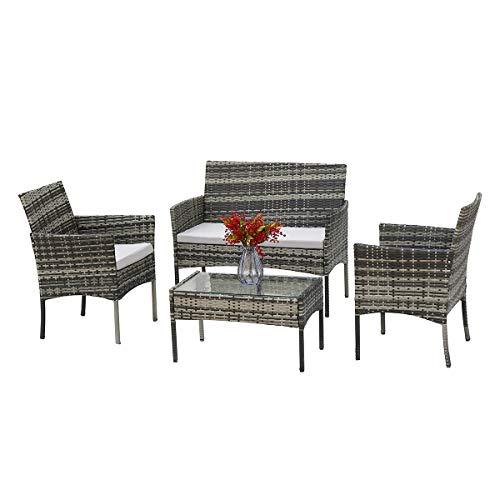lifetech Rattan Garden Furniture Set of 4 Patio Rattan Sofa Weaving Wicker with 2 Side Sofa for Outdoor Conservatory Indoor(Green)