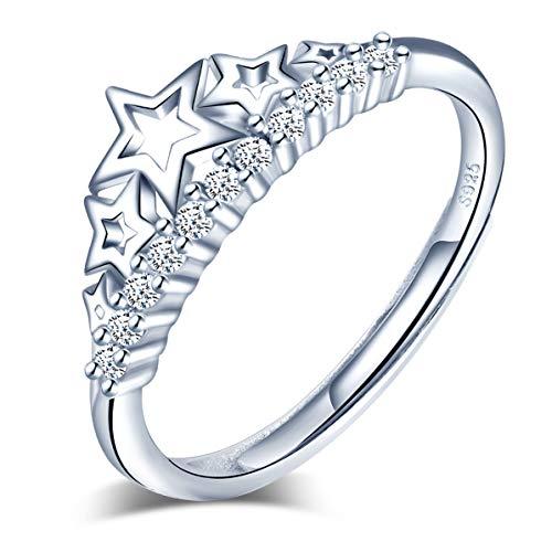 Yumilok Anillo de plata de ley 925 para mujer, anillo con incrustaciones de corona de circón abierto, tamaño ajustable, regalo de cumpleaños de Navidad, tamaño: 49-57