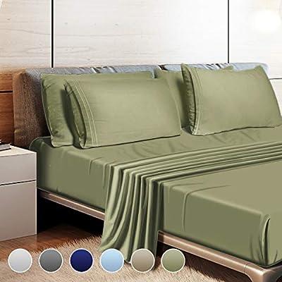 "Leafbay Queen Bed Sheets Set - 4 Piece Super Soft Microfiber Bed Sheets 1800 TC with 16"" Deep Pocket, Wrinkle Resistant and Unfading Bedding Set - Sage"