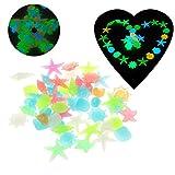 Vektenxi 50pcs Acuario Luminous Stone Decor, Acuario en la Oscuridad Luminosas Starfish Pebbles New Durable y práctico