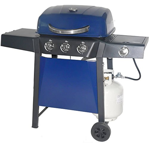 Revoace 3-Burner LP Gas Grill with Side Burner for Outdoor and Camping Blue Sapphire Grills Propane