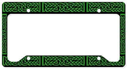 Celtic Knot Green License Plate Frame Chrome Metal,Novelty License Plate Cover,Auto License Car Tag Holder, Gifts for Men,for Women,Wife,Husband