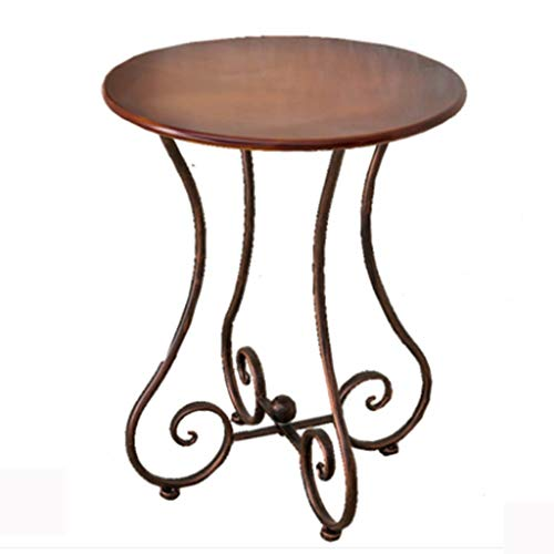 Axdwfd Table ronde Canapé en fer forgé Table d'appoint Salon Chambre Balcon Table basse Mode Snack Table (marron)