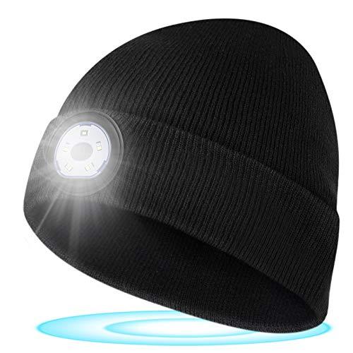 Geschenk für Männer Mütze mit LED Licht - LED Mütze mit Licht Damen Herren, LED Mütze Herren Damen Winter, Jagd Camping Laufen Radfahren Skifahren Waschbare LED Mütze