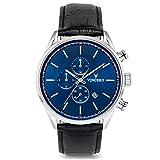 Vincero Luxury Men's Chrono S Wrist Watch - Top Grain Italian Leather Watch Band - 43mm Chronograph Watch - Japanese Quartz Movement (Blue/Black)