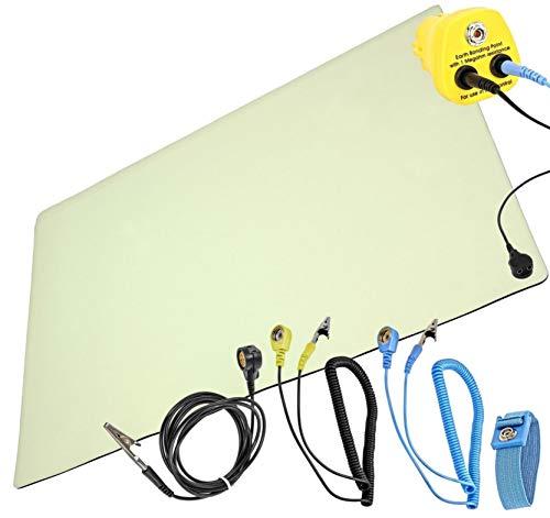 Minadax ESD Antistatik Matte 30cm x 55cm - inkl. Manschette + Verlängerung 1,7m + ESD Stecker - Professionelle Antistatische Arbeitsmatte - Qualität - ESD-Schutz