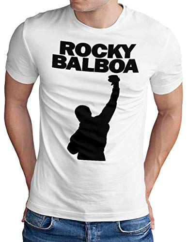 OM3 Rocky Balboa - T-Shirt - Herren - The Italian Stallion City 70s 80s Cult Boxing Movie - Weiß, L