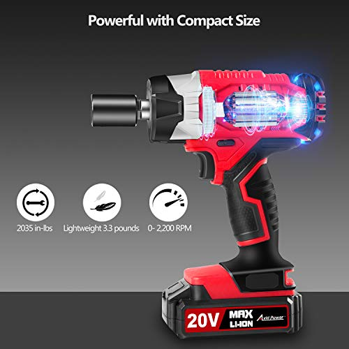 "AVID POWER 20V MAX Cordless Impact Wrench with 1/2"" Chuck, Max Torque 185 ft-lbs , 4Pcs Driver Impact Sockets, Tool Bag and 1.5A Li-ion Battery, Avid Power MCIW326"