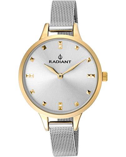 Reloj analógico para Mujer de Radiant. Colección Snow. Reloj Bicolor en Plata y Dorado con Malla milanesa y Esfera Plata. 3ATM. 34mm. Referencia RA474602.