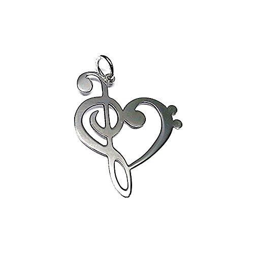 Colgante plata ley 925m liso 35mm. corazón clave sol [AA7792]