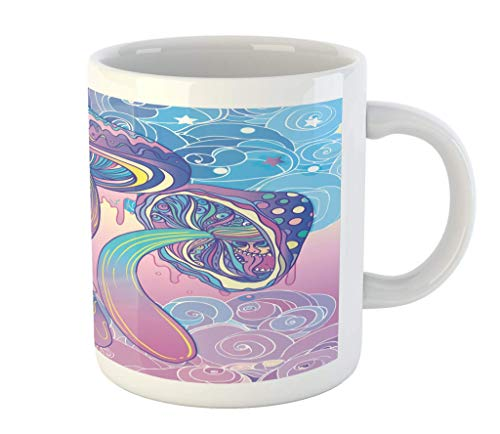 N\A Taza de Setas, Trippy del Hippie Diseño Dibujo años Sesenta visionario psicodélico chamánica, Taza de cerámica de la Taza de café de Agua de té Bebidas, 11 oz, Rosa púrpura