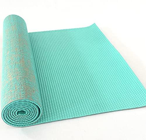 Esterilla de yoga de lino grueso de 5 mm 183*61 cm Esterilla de ejercicio alargada natural de yute esteras de yoga insípido azul cielo
