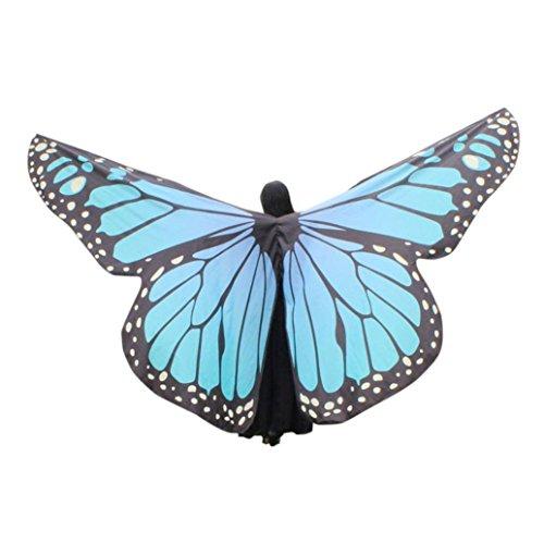 style_dress Ägypten Damen Butterfly Belly Wings Für Bauchtanz Tanz Schleier Flügel Zubehör Tanzen Kostüm Bauchtanz No Sticks Fasching Karneval (Blau)