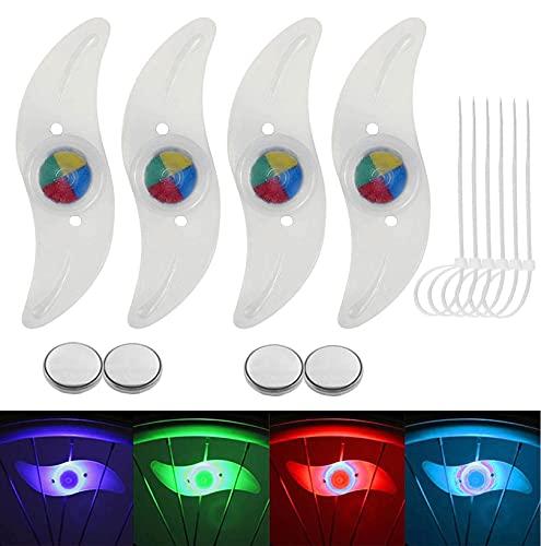 4 Pack Fahrrad-Speichenlichter LED Fahrrad Rad Lichter Wasserdicht Beleuchtung Heiße Räder Reflektor Weidenblatt Licht Reifen Fahrrad Erwachsene Kinderfahrrad für Sicherheit Dekoration(Bunt)