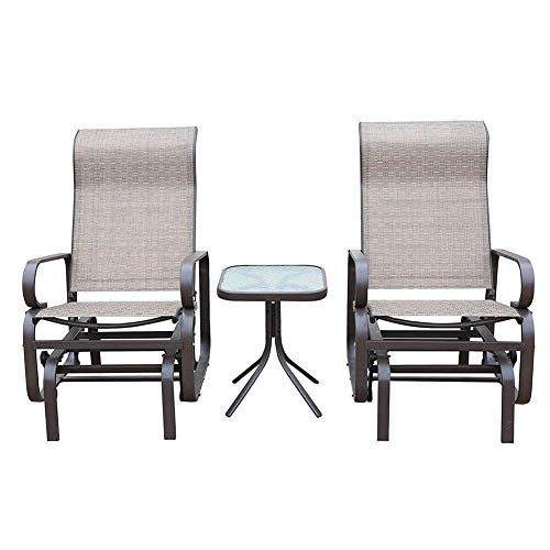 N/Z Daily Equipment 3 Pcs Outdoor Gliding Rocking Chair with Tea Table Patio Garden Comfortable Swing Chair