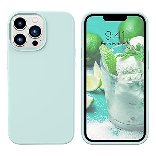 YINLAI iPhone 13 Pro Hülle Silikon,Handyhülle iPhone 13 Pro Schutzhülle Slim Hülle Cover Liquid Silikon Gel Matte Kratzfest Hülle für iPhone 13 Pro 6,1 Zoll,Mint Grün