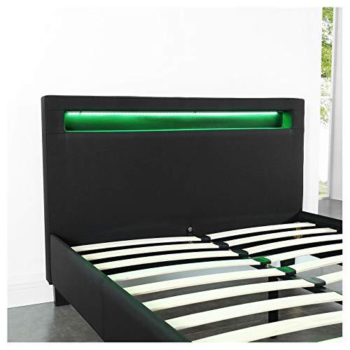 IDIMEX Lit Simple pour Adulte Marisela Couchage 120 x 190 cm avec sommier 1 Place et Demi pour 1 Personne, tête de lit avec LED intégrées, revêtement en Tissu Noir