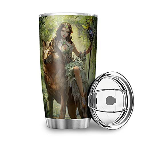 Dessionop Botella de agua Tumbler Fantasy Elf Wolf Bosque Impresión Auto Botella de agua deportiva 20oz antigoteo Tapa blanca 600 ml