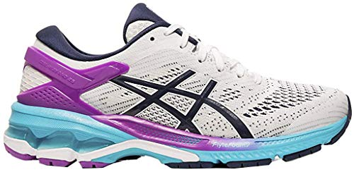 ASICS Women's Gel-Kayano 26 Running Shoes, 9.5M, White/Peacoat