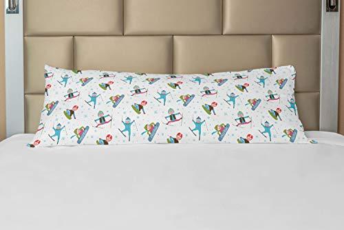 ABAKUHAUS Winter Hoes voor Ligzak met Rits, Snowboard en Ski Sport, Decoratieve Lange Kussensloop, 53 x 137 cm, Veelkleurig