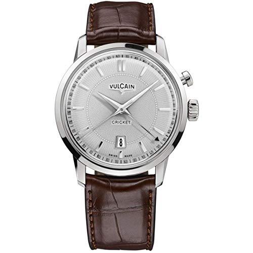 Vulcain Cricket 50s Presidents Mens Analog Mechanical Hand Wind Watch with Crocodile Leather Bracelet 110151G20.BAL128