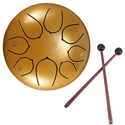 Konesky Stahl Zungentrommel 6 Zoll Hand Pan Percussion Drum 8 Tune Ätherisches Schlagzeug-Instrumentarium mit Trommel Tragetasche, 2 Drumsticks, Übungsheft, 4 Fingerpicks, Gold