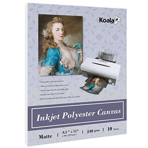 Koala Inkjet Canvas Printable Matte Polyester Textured Photo Paper 10 Sheets 8.5x11 Inches 11 Mil Thick 240gsm for Inkjet Printers