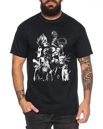 Heroes One Manga Camiseta de Hombre Anime Piece, Farbe2:Negro, Größe2:Medium
