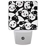 Vdsrup Cute Baby Panda Night Light Set of 2 Lovely Bear Animals Plug-in LED Nightlights Auto Dusk-to-Dawn Sensor Lamp for Bedroom Bathroom Kitchen Hallway Stairs