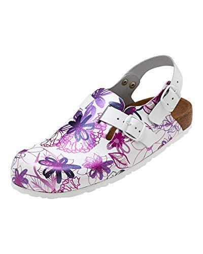 CLINIC DRESS - Clog für Damen Lila Pink Floral Leder bunt, Motiv Blumen 39
