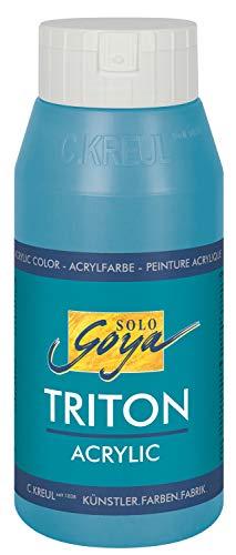 Kreul 17046 - Solo Goya Triton Acrylfarbe, schnell und matt trocknend, 750 ml Flasche, türkisblau, Farbe auf Wasserbasis, in Studioqualität, vielseitig einsetzbar, gut deckend und ergiebig