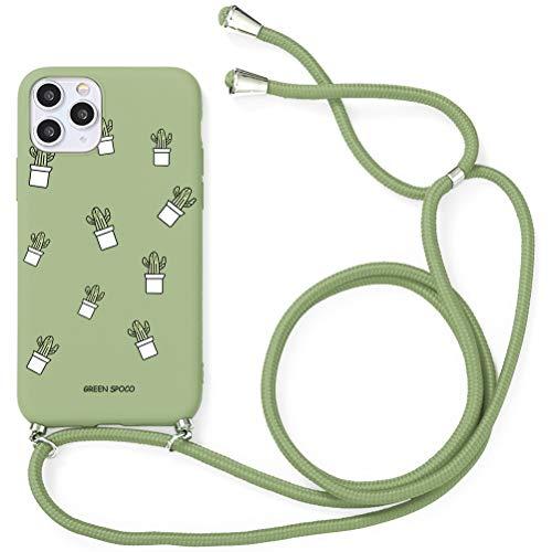 Yoedge Funda con Cuerda para iPhone 12 Pro/iPhone 12-6.1', Funda de Silicona Antideslizante Suave TPU para Teléfono Móvil con Colgante Ajustable Collar Correa para el Cuello Cadena Cuerda, Cactus
