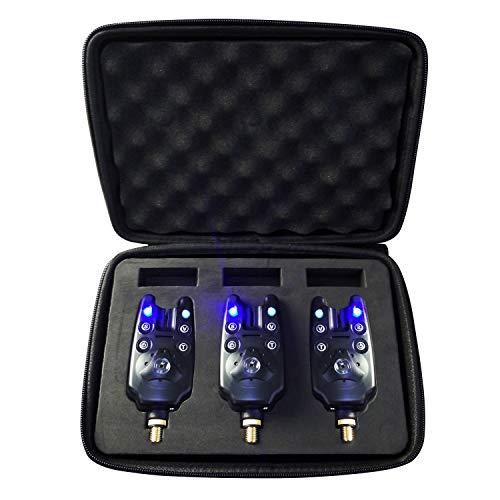 (3 PC por sistema) Alarmas mordedura de la pesca de sonido y de luz, con 1 salida de altavoz e indicador LED de enclavamiento 2 [Función ajustable: 3 modos de sensibilidad, 4 modos de tono y 5 modos de volumen] de Discoball