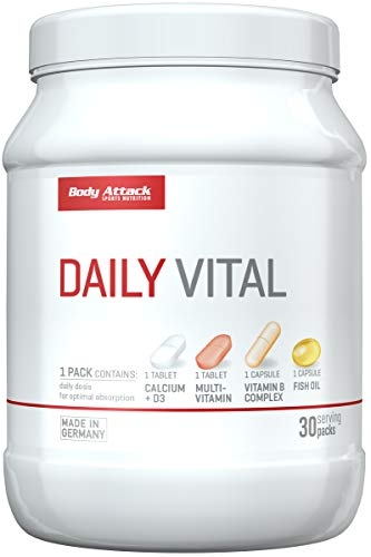 Body Attack Daily Vital Vitamine Calcium Multivitamin Vitamin B Fish Oil 30 Packungen (1)
