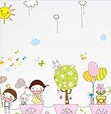 hfwh Pegatinas de Pared, DIY Carton Sunny Day Happy Childhood Removible Animal Animal Kids Habitació...